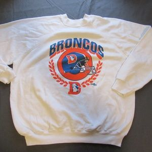Vtg NFL Denver Broncos Sweater Size XL White